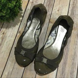 Coach Olive Green Ballet Flats Size 10B